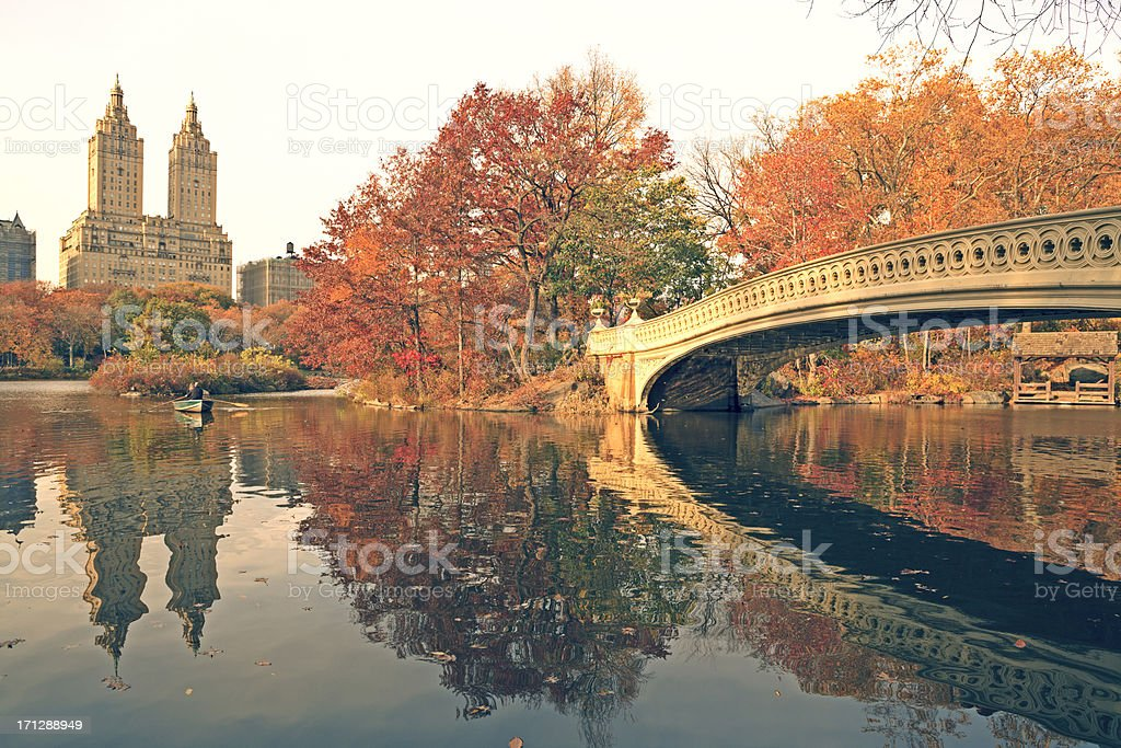 Central Park at fall stock photo
