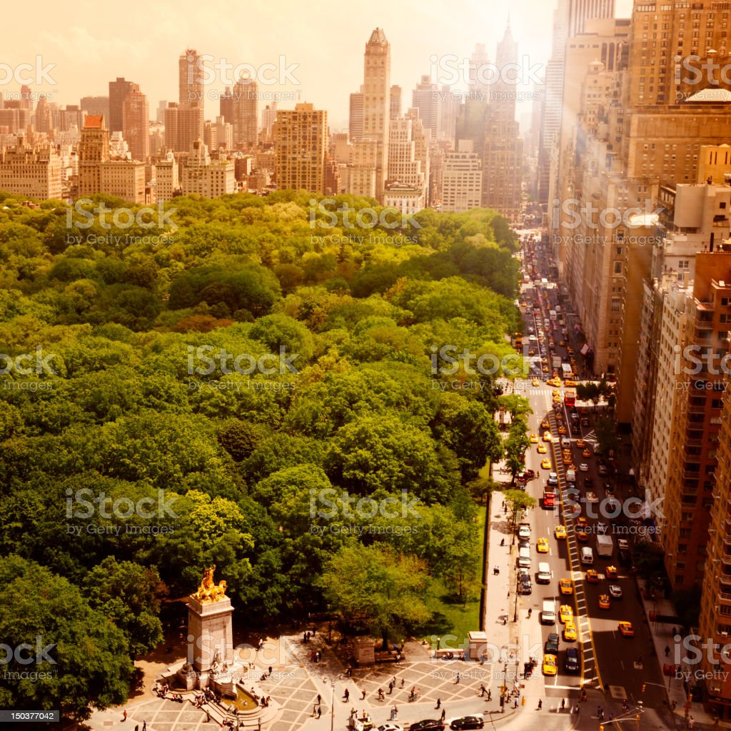 Central Park at Sunset, NYC. stock photo