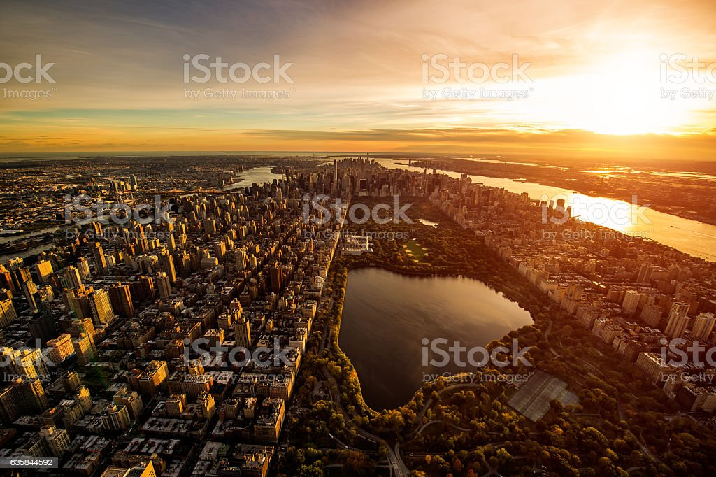 Central Park at sunset stock photo
