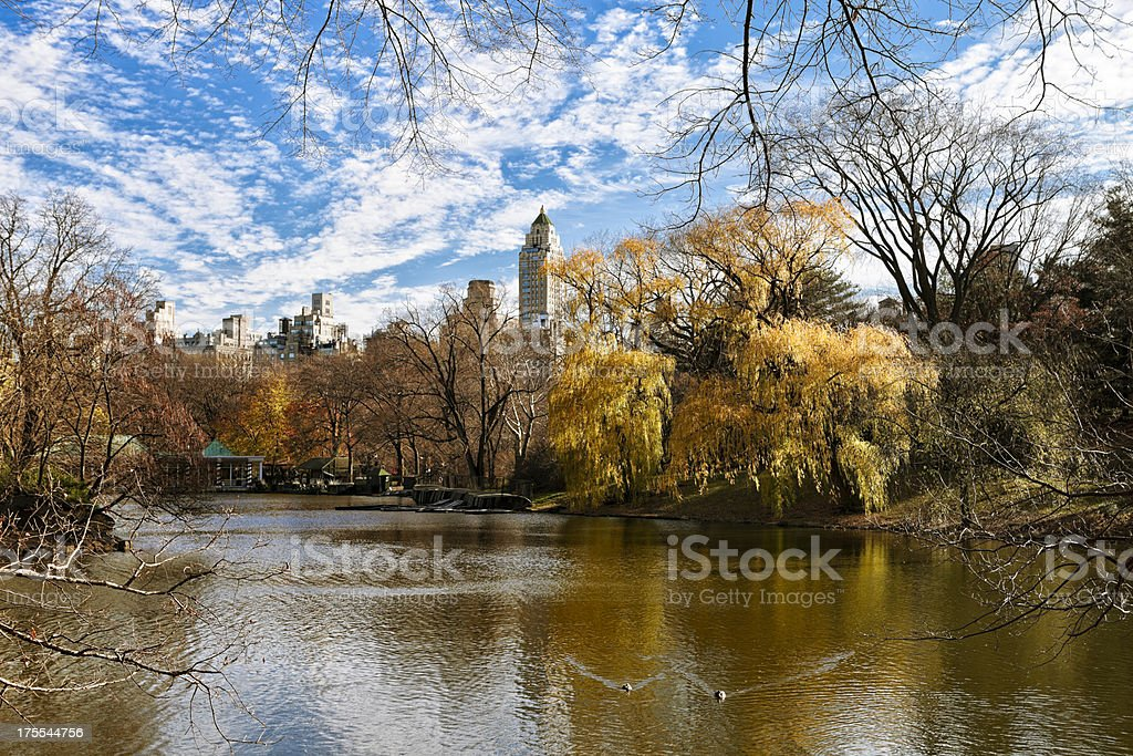 Central Park Boathouse and Lake stock photo