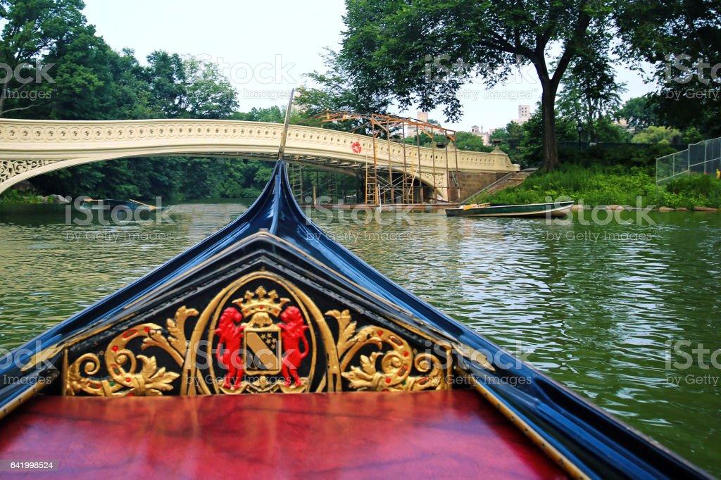 Central Park Bow Bridge Gondola stock photo