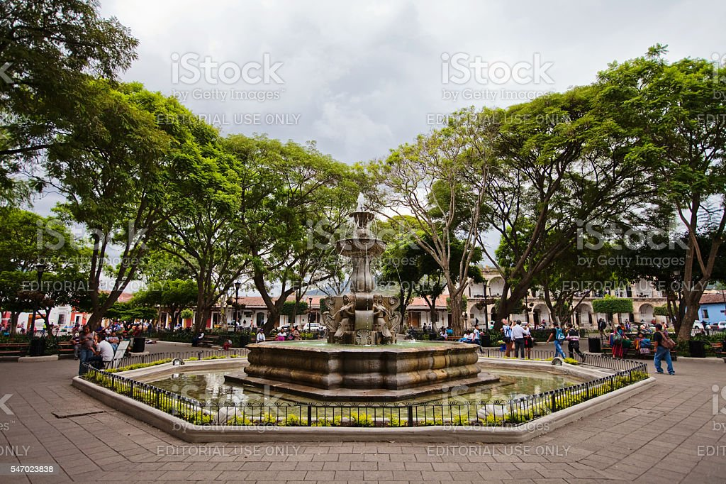 Parque Central (Plaza Mayor) Fountain stock photo