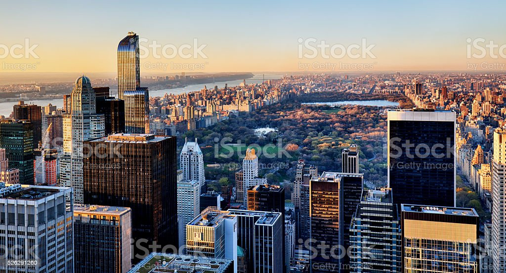 Central Park in New York at sunset stock photo