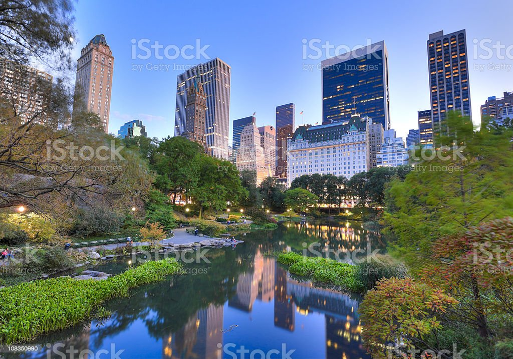 Central Park in New York City at dusk royalty-free stock photo