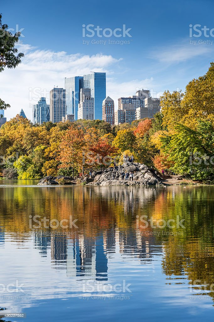 Central Park in New York City in Autumn stock photo
