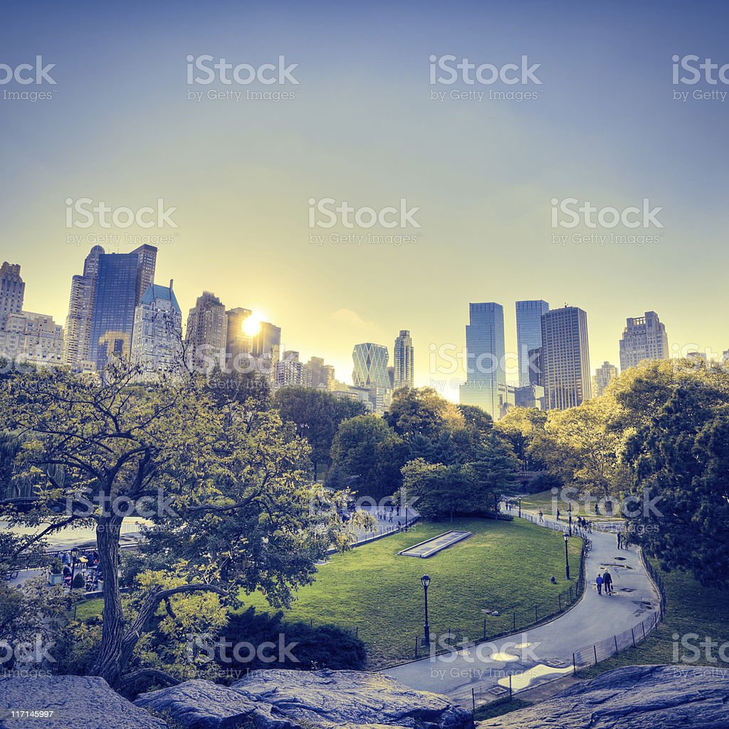 Central Park in New York during sunset royalty-free stock photo