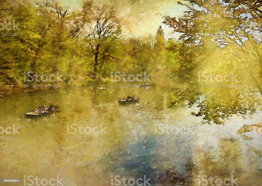 Central Park in Spring Painting stock photo