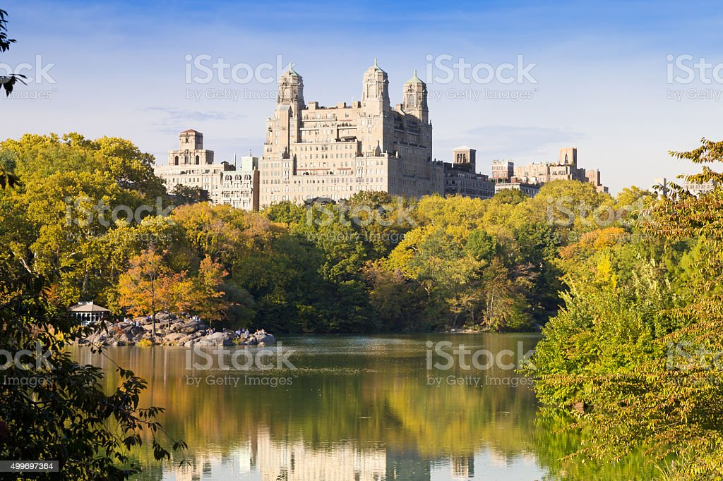 Central Park, Lake and Foliage colors, New York City. stock photo