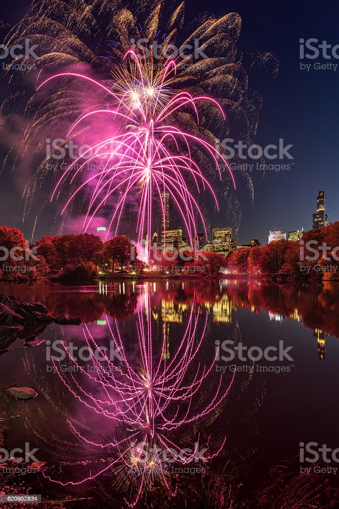 Central Park Lake New York City, 2016 Marathon Fireworks stock photo