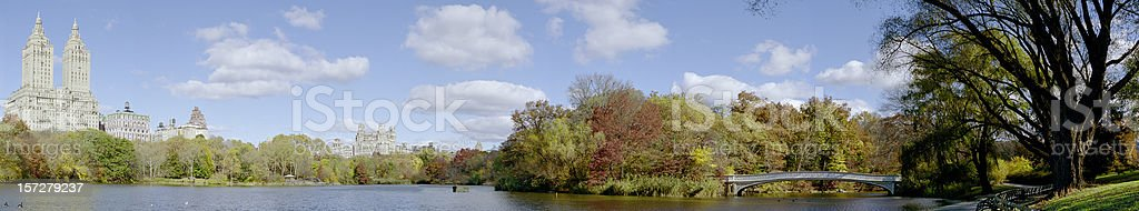 Central Park Lake Panorama royalty-free stock photo