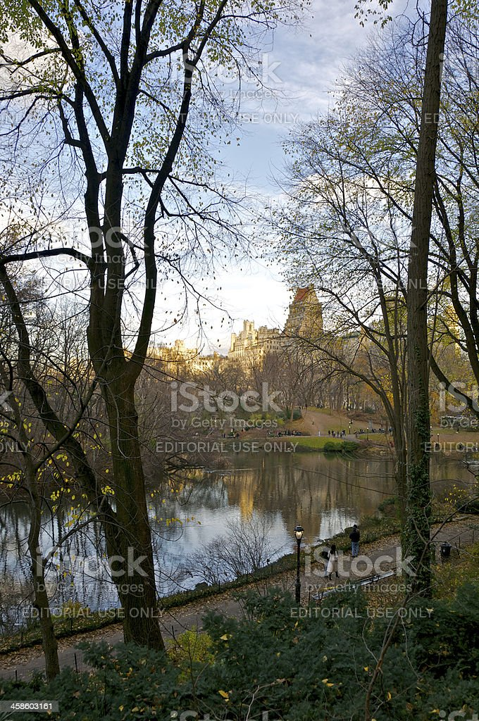 Central Park lake scene, late afternoon light, Manhattan, NYC stock photo