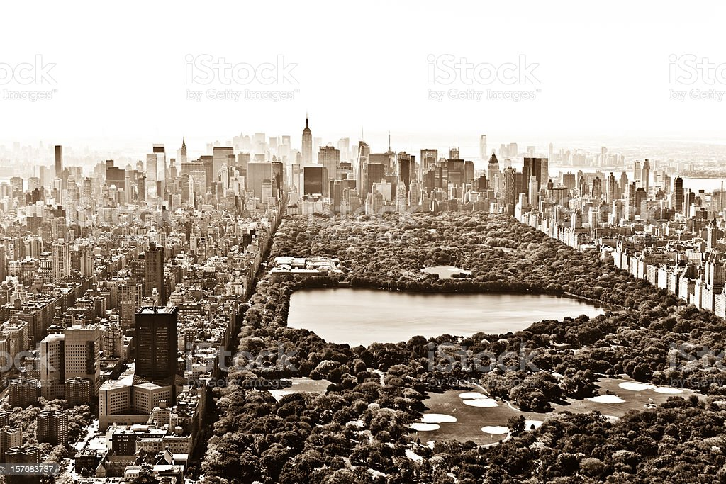 central park manhattan vintage aerial view royalty-free stock photo