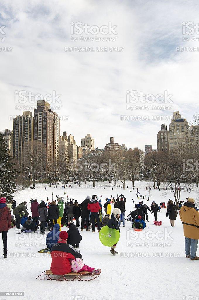 Central Park New York City Winter Storm Snow Sledding Scene royalty-free stock photo