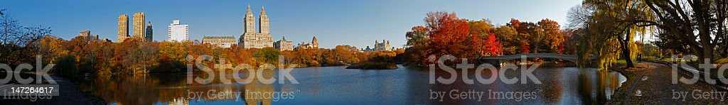 Central Park panorama with Bow Bridge royalty-free stock photo