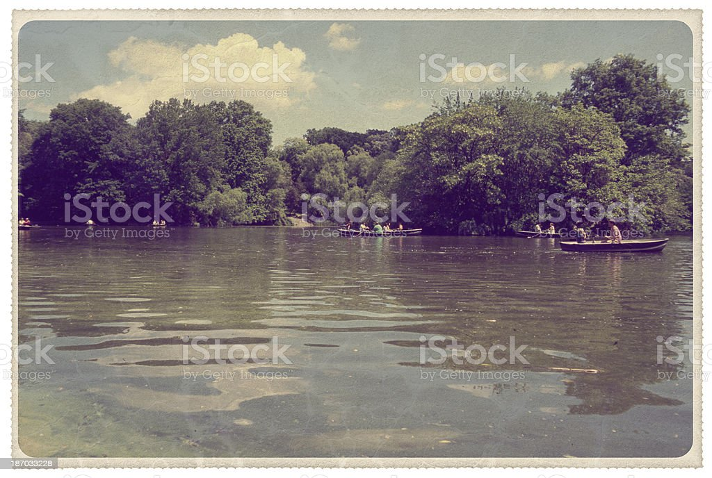 Central Park: Ramble and the Lake - Vintage Postcard stock photo
