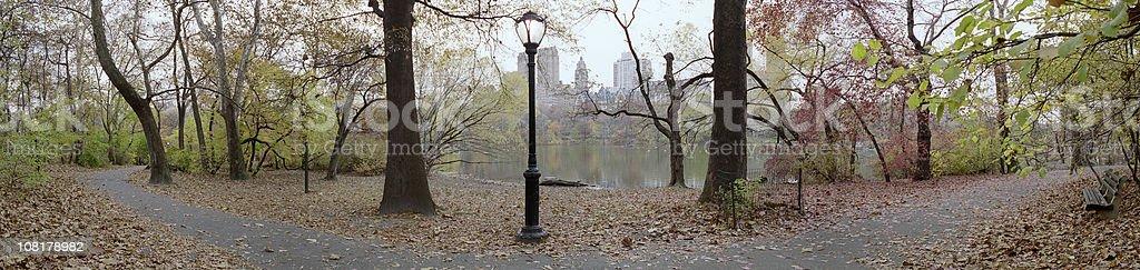 Central Park Ramble Autumn Panorama royalty-free stock photo