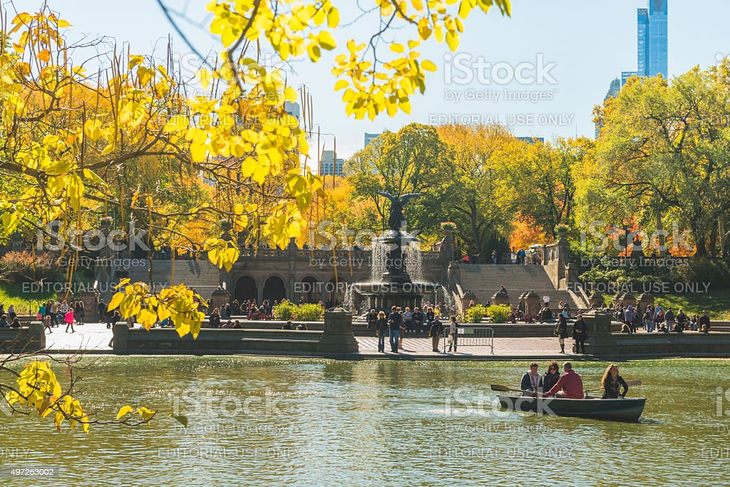 Central Park Scenic Bethesda Fountain in Autumn NYC Travel Destination stock photo