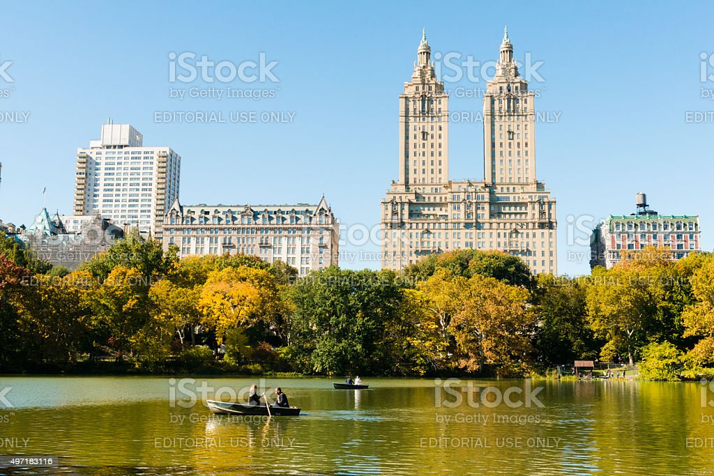 NYC Central Park Scenic Lake View USA Travel Destination stock photo