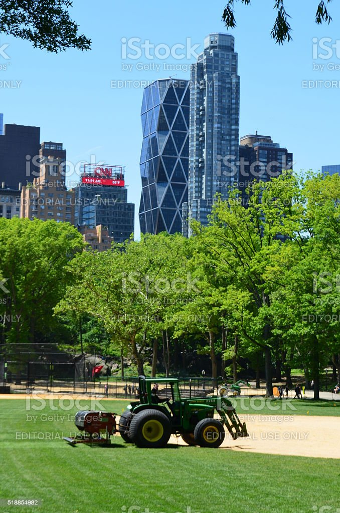 Central Park: Tractor, Skyscrapers, CNN Logo stock photo