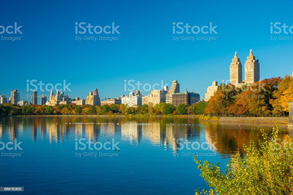 Central Park view of Upper West Side skyline during Autumn stock photo