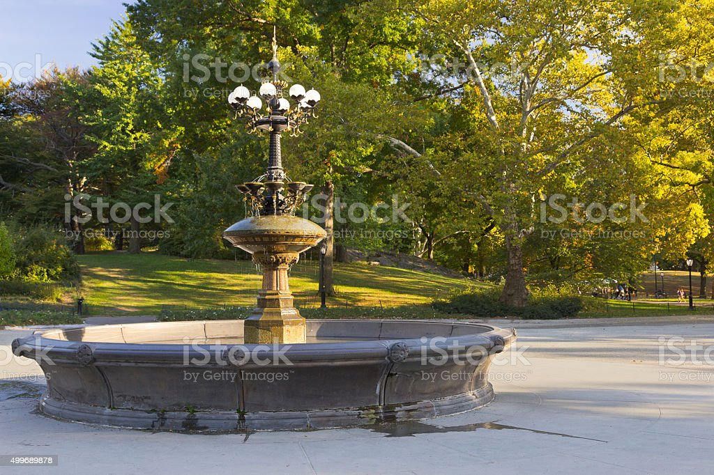Central Park with Fountain and foliage colors, New York City. stock photo