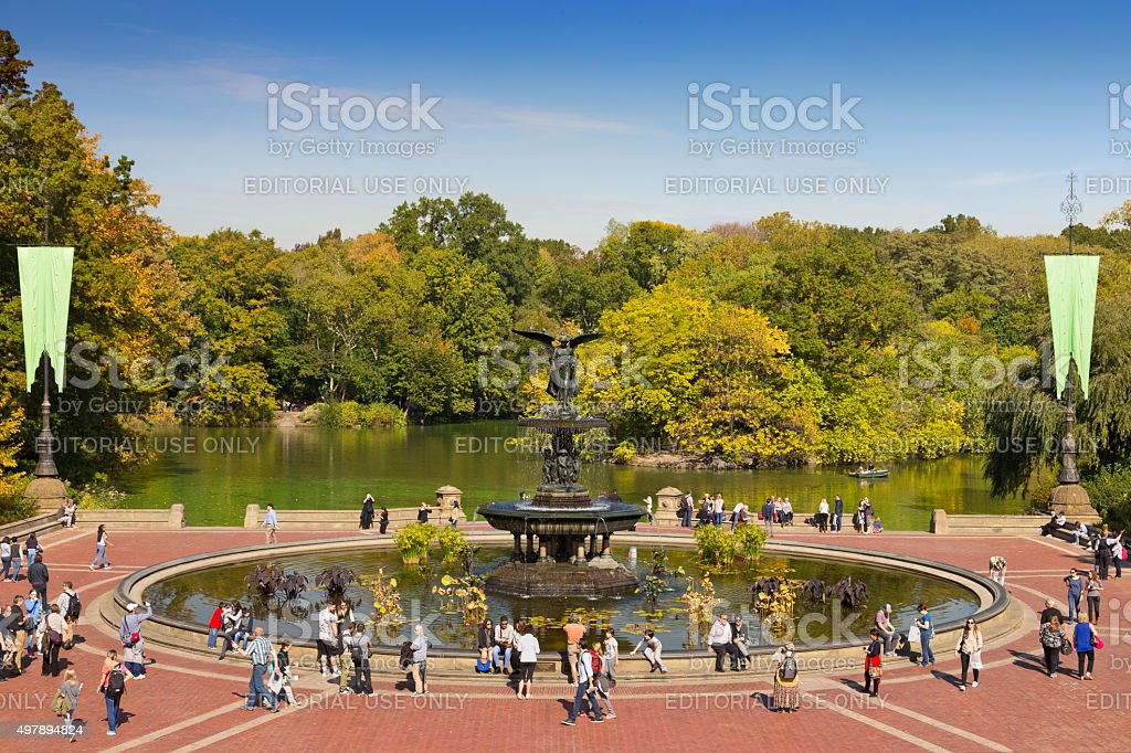 Central Park with trees with foliage colors, New York City. stock photo