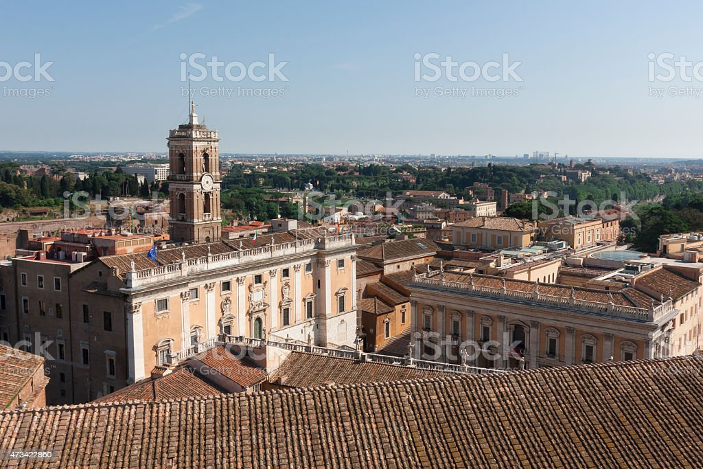 Central part of a panoramic view of Rome stock photo