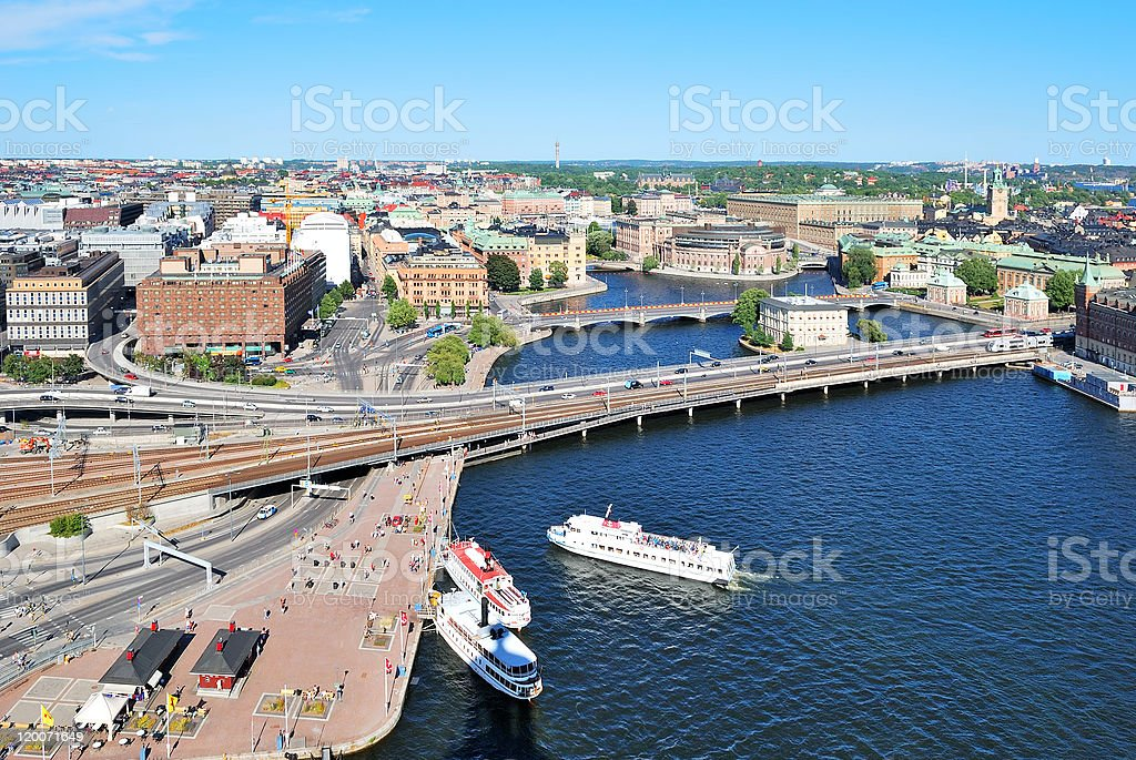 Central part of Stockholm stock photo