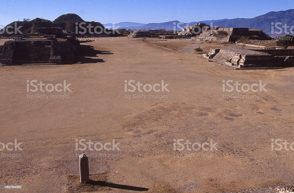 central plaza area stele Monte Alban Zapotec Ruins Oaxaca Mexico stock photo