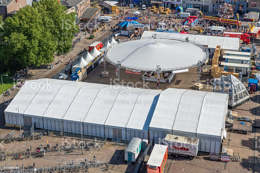 Central plaza Emmeloord with agricultural potato festival, The Netherlands stock photo