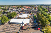 Central plaza Emmeloord with agricultural potato festival, The Netherlands