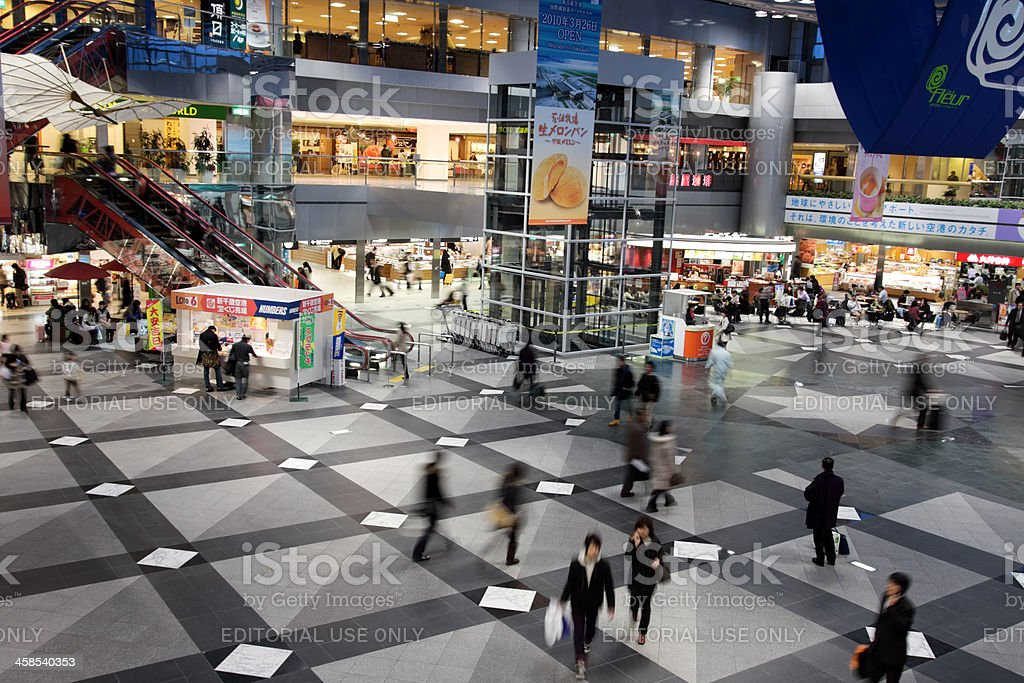 Central Plaza of New Chitose Airport Terminal stock photo