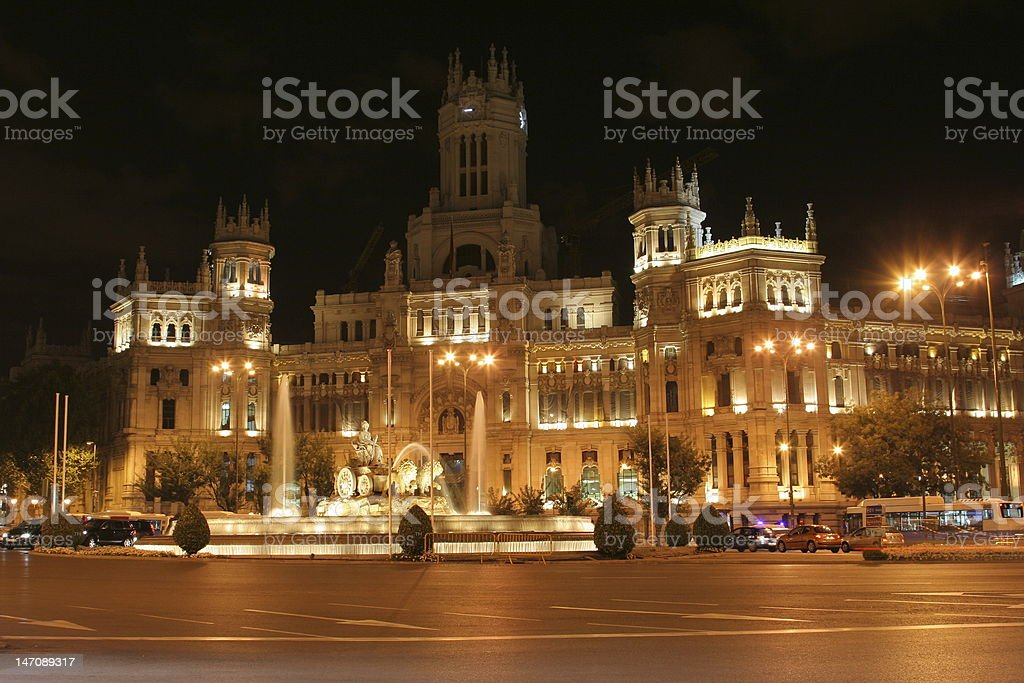 Central post office in Madrid (at night) royalty-free stock photo