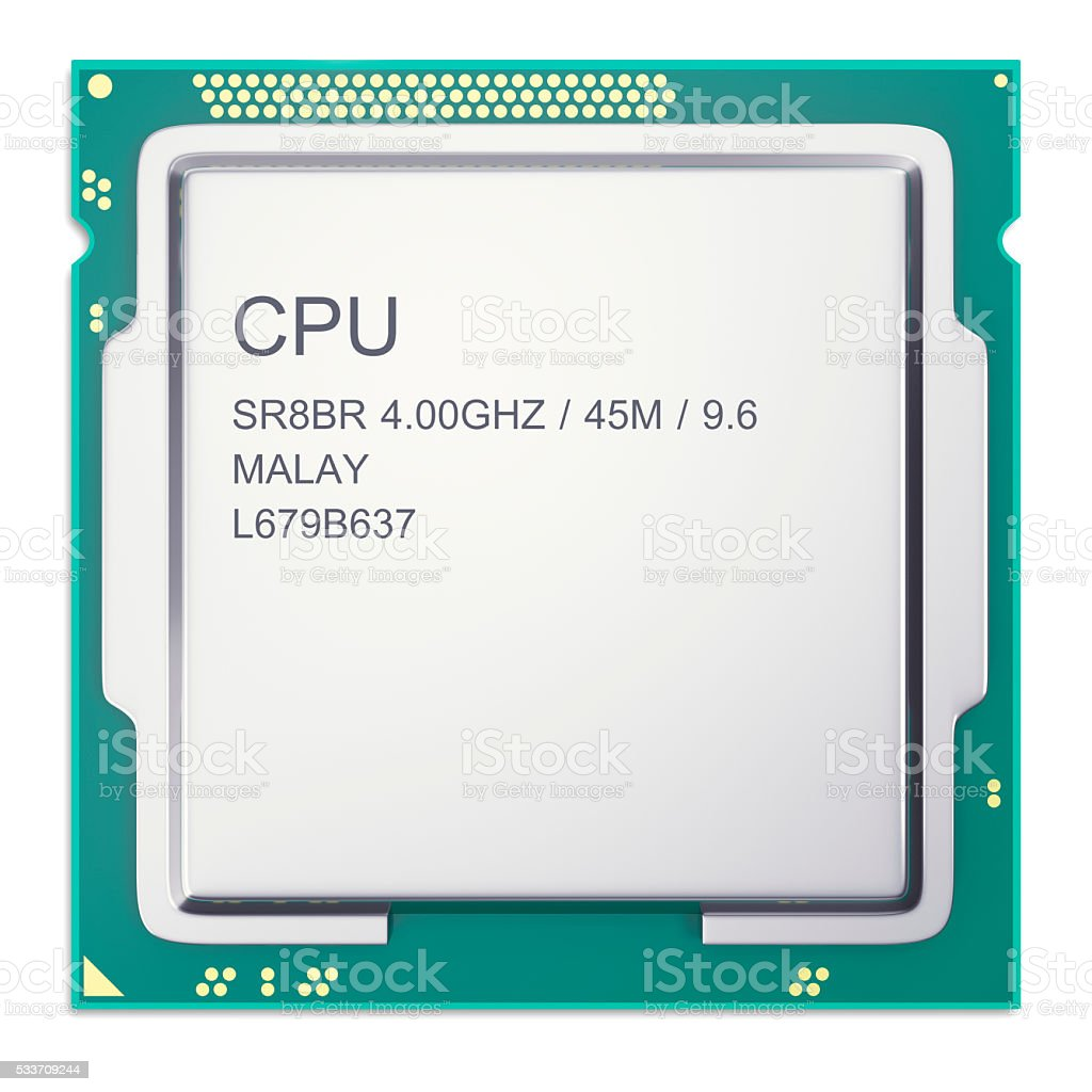 Central processor unit CPU top view isolated on whitebackground. 3d stock photo