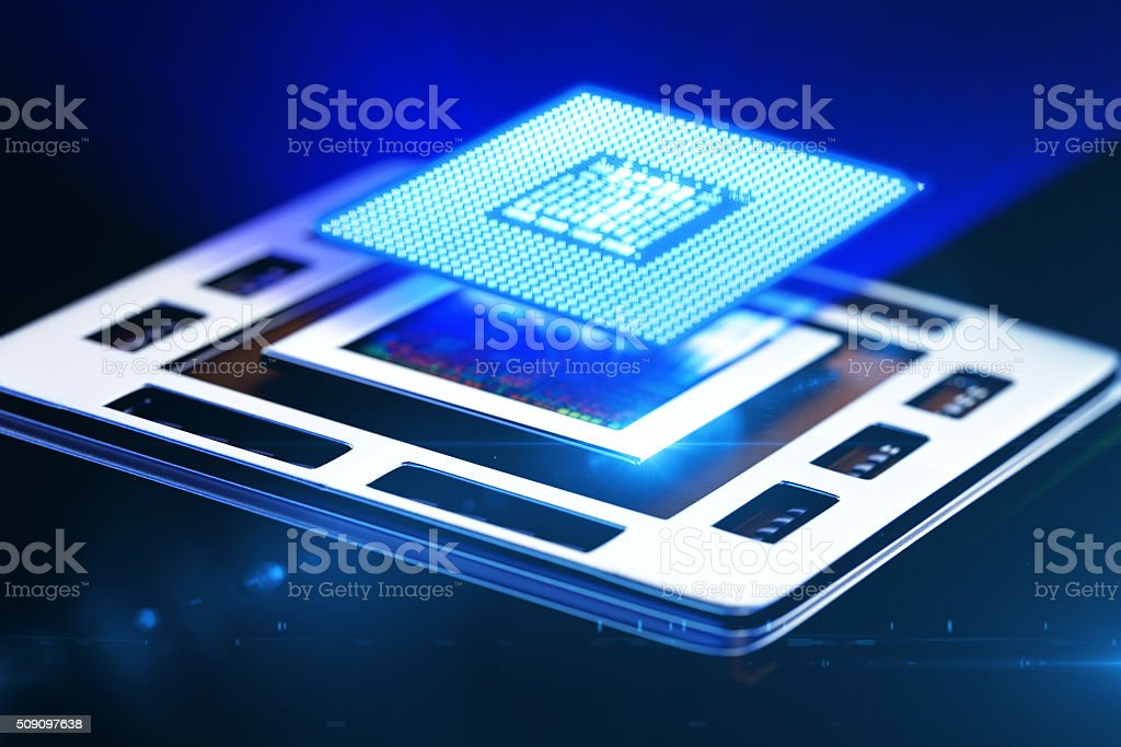 central processor unit on mainboard stock photo