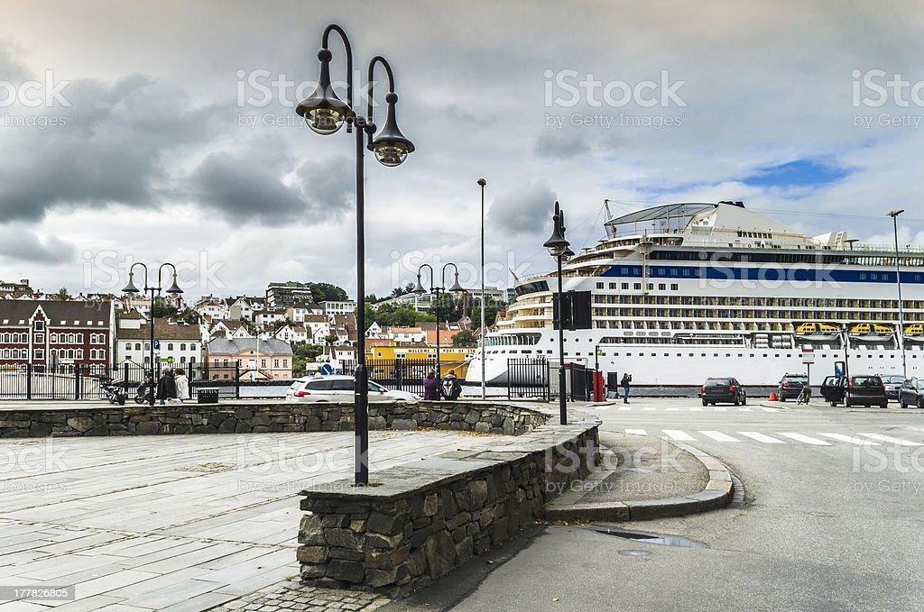 Central promenade and port of Stavanger stock photo