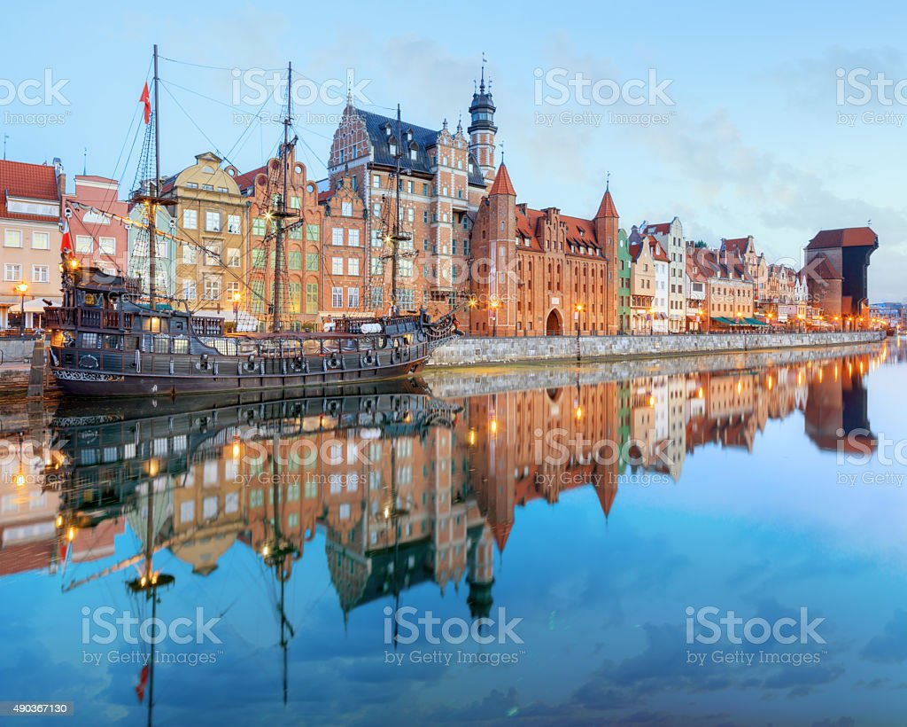 Central quay of Gdansk, Poland stock photo
