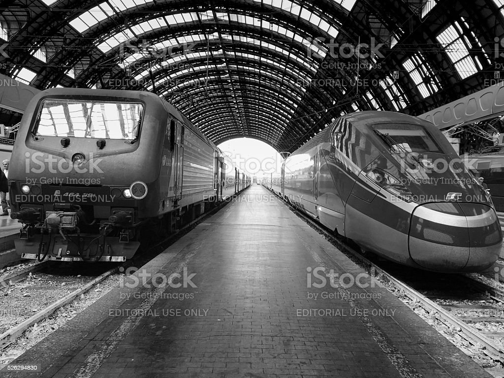 Central Railroad station in Milan stock photo