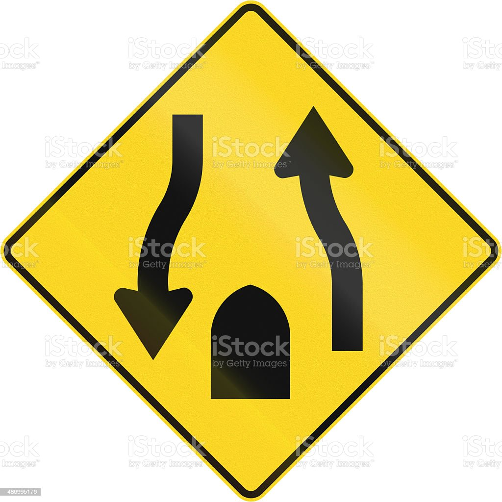 Central Reserve With Two Way Traffic Ends In Canada stock photo