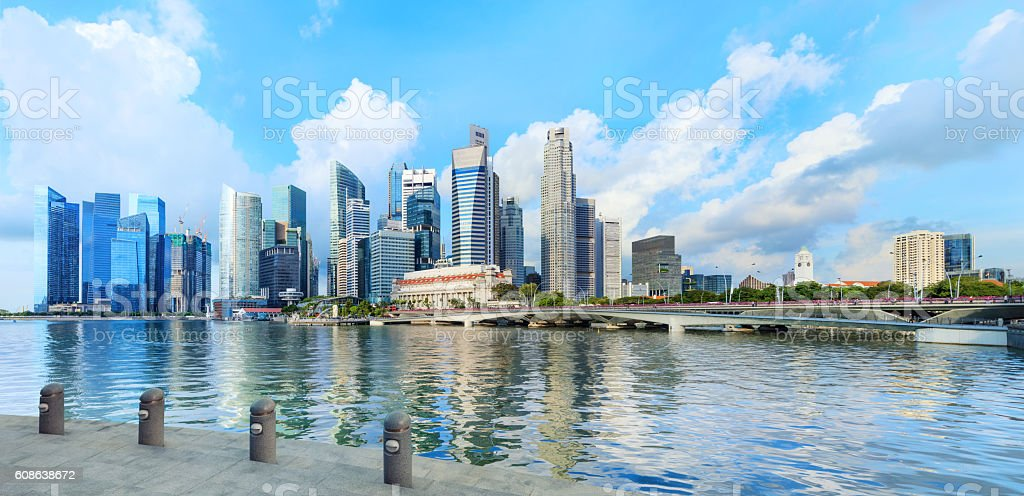 central Singapore skyline. Financial towers and Esplanade drive bridge stock photo