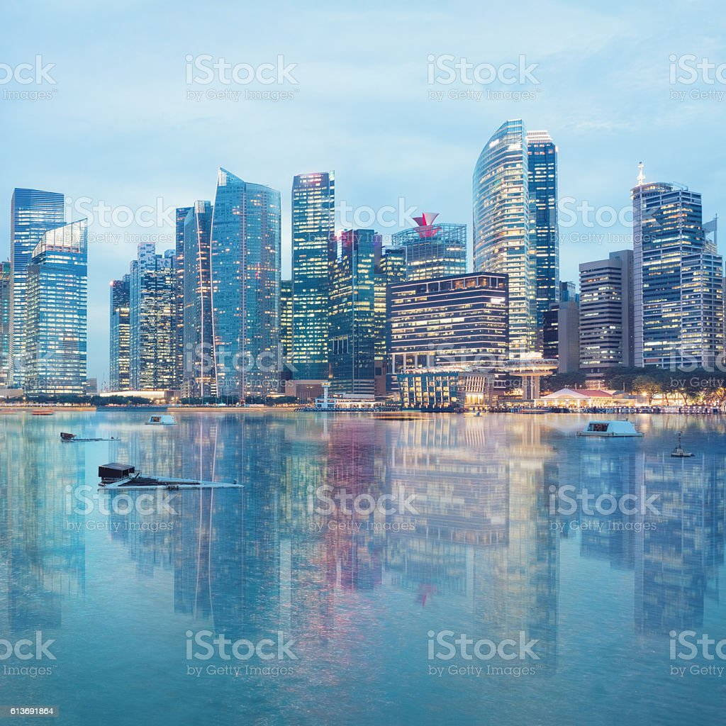 central Singapore skyline. Financial towers and shopping malls stock photo