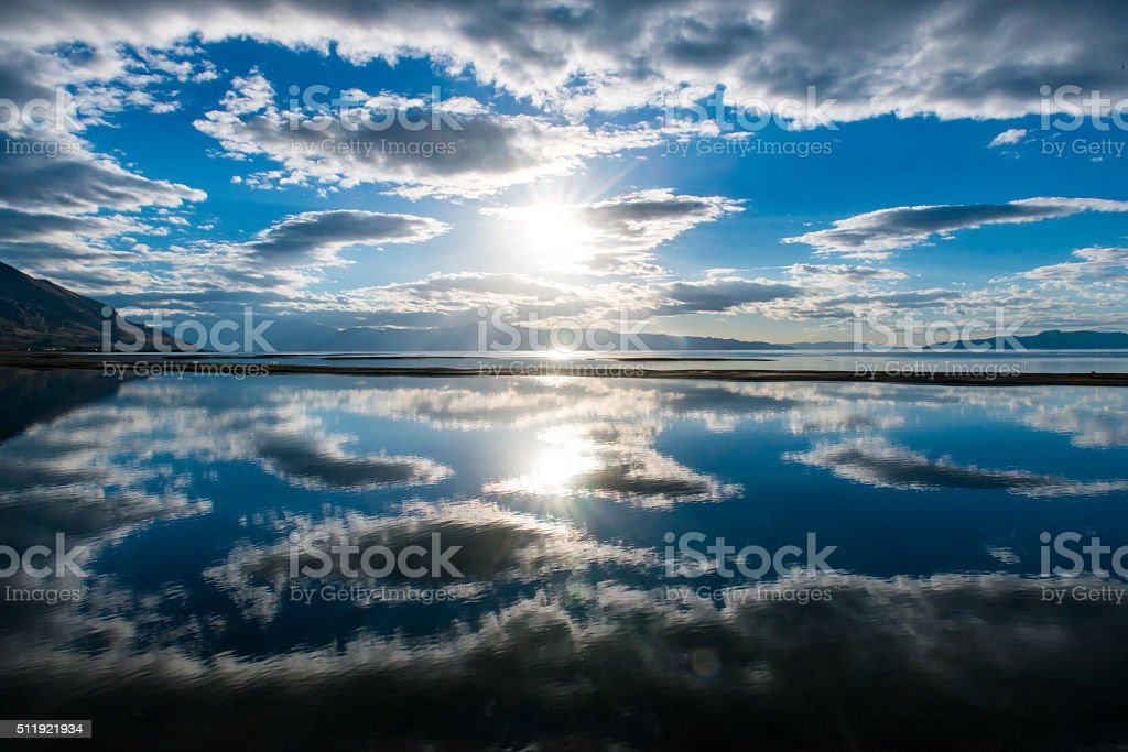 Central Solar collection disk stock photo