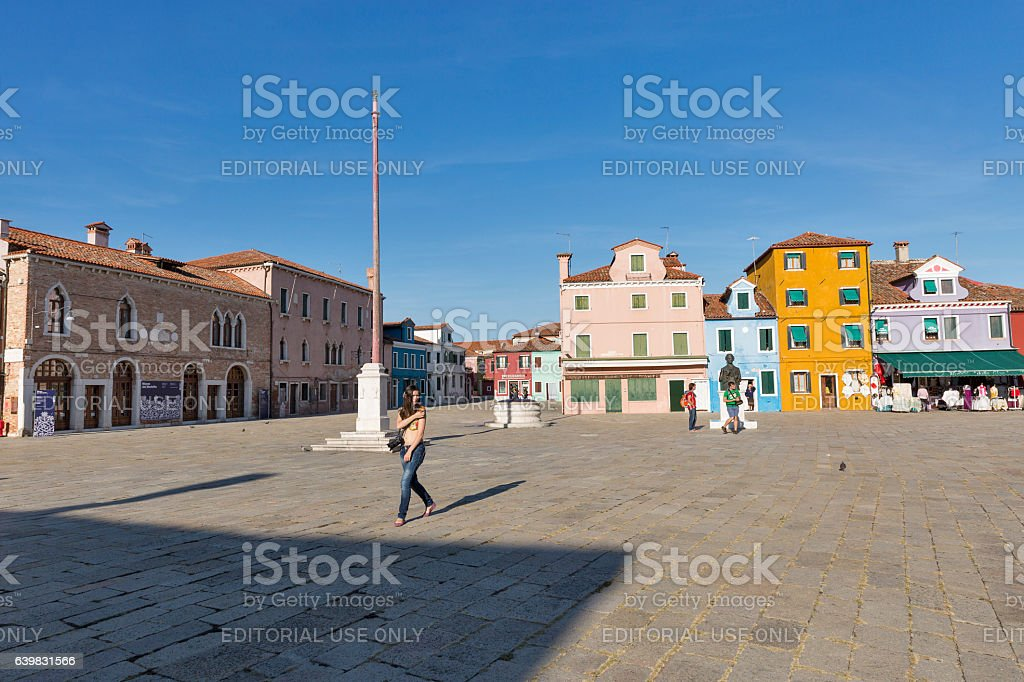 Central square and monument Baldassare Galuppi on island Burano, Italy stock photo