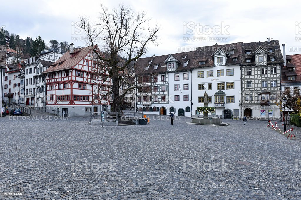 Central square at the old town of St. Gallen stock photo