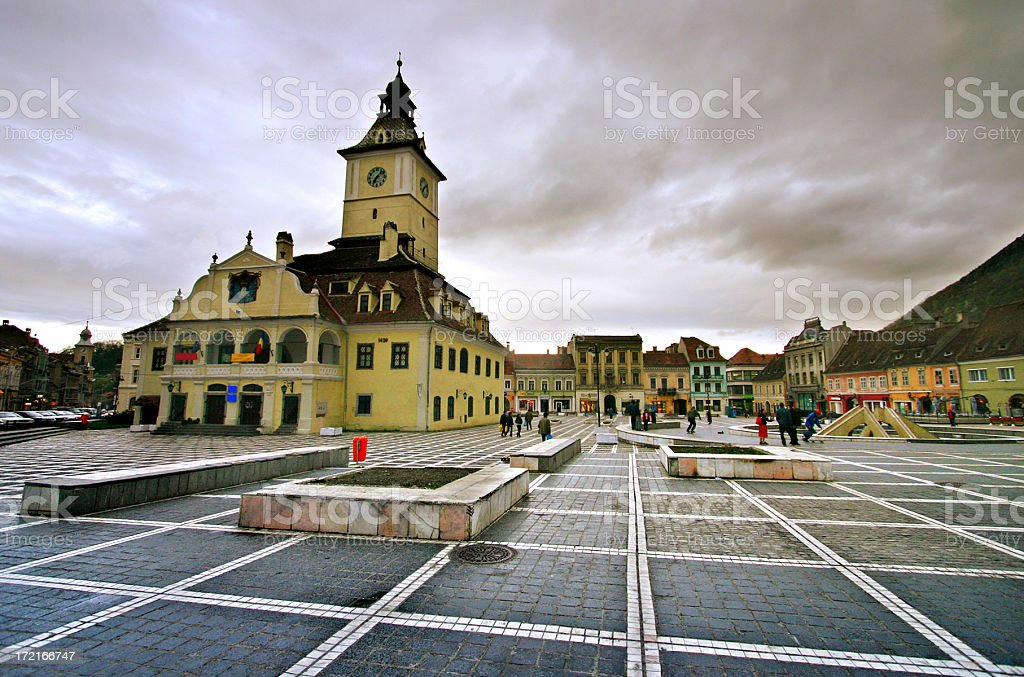 Central Square in Brasov Romania stock photo