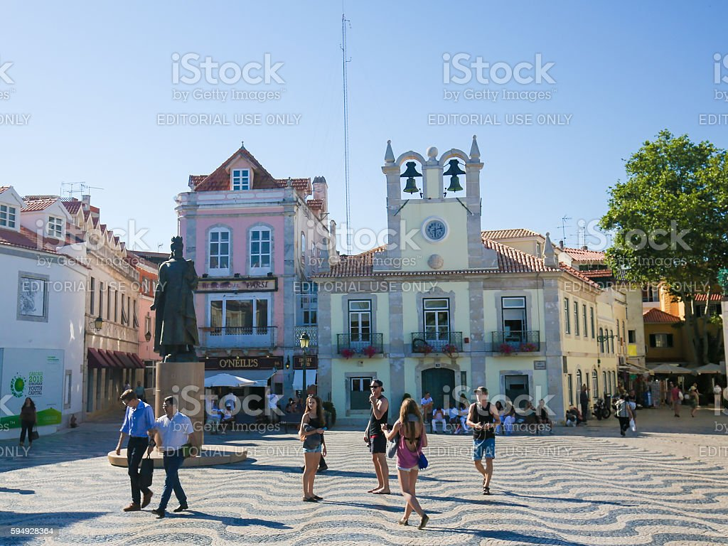 Central Square in Cascais, Portugal stock photo