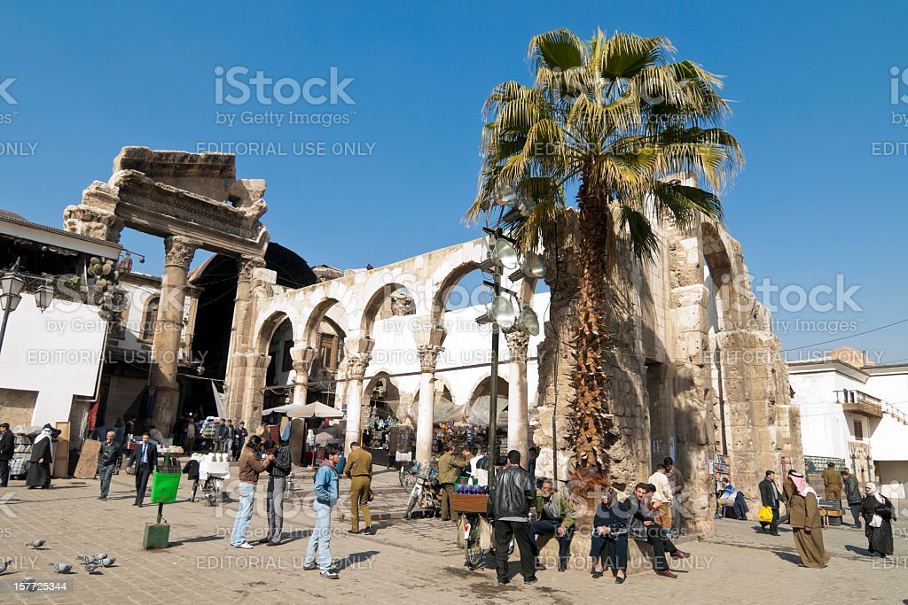 Central square in Damascus, Syria stock photo
