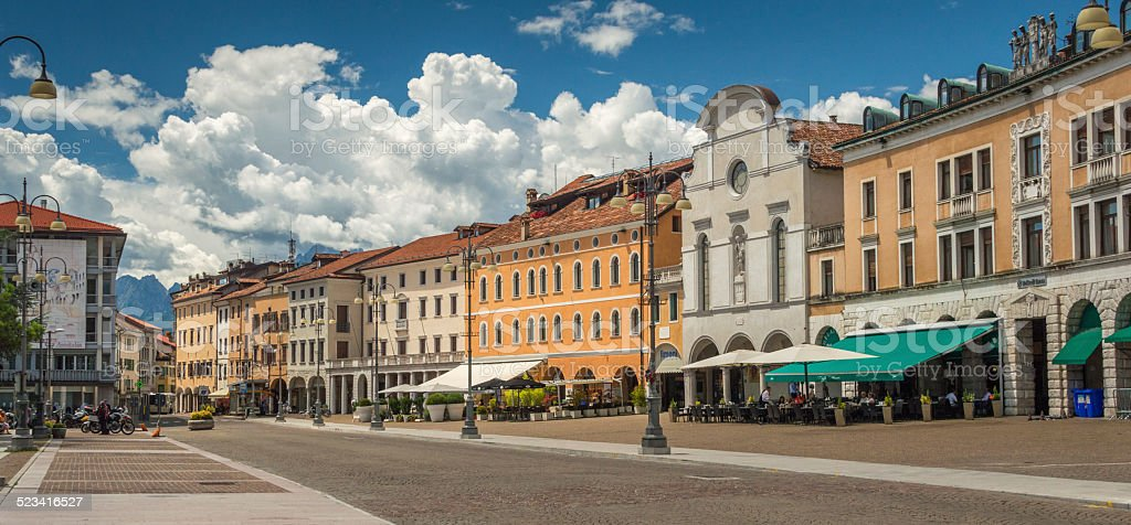 Central square in the city of Belluno, Northern Italy stock photo