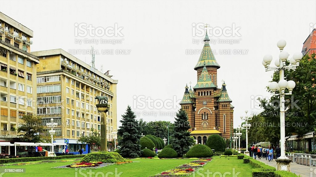Central square in Timisoara, city in Romani, eastern Europe stock photo