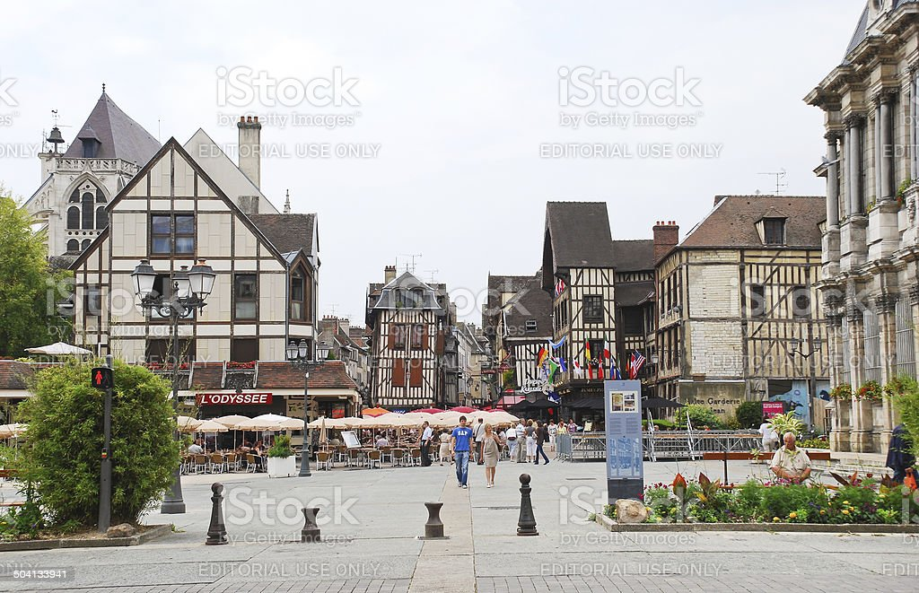 central square in town Troyes, France stock photo